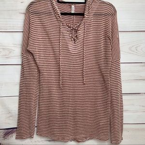 CELESTE Rust Stripe Lace Up Drawstring Hoodie